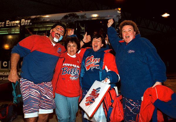 98/11/01 Returning Fans *Dennis Stierer Photo -<br /> These fans were returning via Metro bus in Niagara Falls from the victorious Buffalo Bills game on Sunday. They are from the left, Bob Teixeira, Barbara Maruca, Elaine LeBlanc, and Janine Tata.