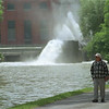98/06/01 Old Faithful *Dennis Stierer Photo - Chuck and Virginia Hunsinger were walking down the tow path totally unaware of the NYSEG water outlet acting like it was Old Faithful.