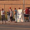 6/12/97 Water Plant Picketing 2 - James Neiss Photo - Picketers protest the use of out of state labor and bounced pay checks at the old water plant.