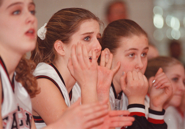 3/1/97-- Falcons 2-- Takaaki Iwabu photo-- NW bench shows the emotion during later part of the game. Kim Eisenbart and Kristy Heintz in the picture.