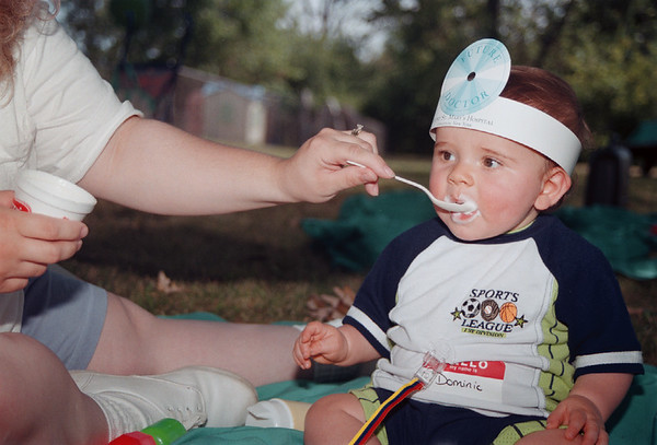 98/08/09 97 Babies2-Rachel naber Photo-Dominick Marchioni was born at Mount St. maryÕs in December and returned to today with Mother Stacie to enjoy vanilla ice cream at the hospitals annual picnic.