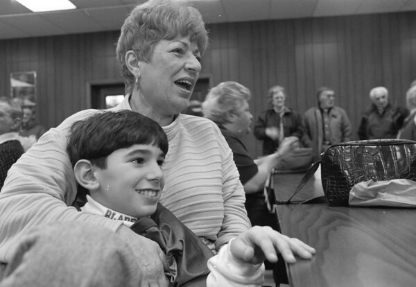 "1/28/97-- catholic week 2 --Takaaki Iwabu photo-- Rose Lanzetta and her grandson David DeMizio, 9, share a good time after ""Grandparent's Lunch,"" one of the programs celebrate Cathoic School's Week at St. Joseph School Tuesday.               Grapevine photo"