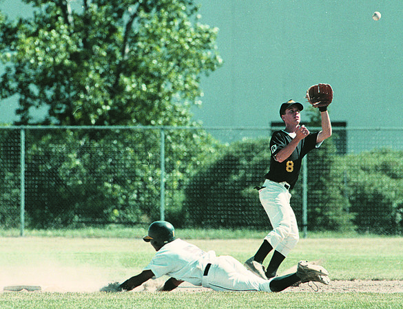 7/29/97--PAL BASEBALL 2--DAN CAPPELLAZZO PHOTO--NF  SECOND BASEMAN VINNIE GIRADO WAITS FOR THE BALL AS DETRIOT PAL'S PRINCE PACK BEATS THE THROW ON A 3RD INNING STEAL.<br /> <br /> SP