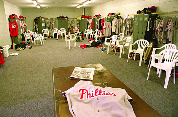 8/25/96--DWYER/LOCKERROOM--CAPPY PHOTO--THE LOCKERROOM AT DWYER STADIUM.<br /> <br /> SPORTS SUNDAY