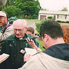 6/2/97--MCVEIGH HOME/PENDLETON--PAT LOWTHER PHOTO--MCVEIGH FAMILY PRIEST FATHER PAUL BELZER GIVES A STATEMENT TOT HE PREES IN FRONT OF THE MCVEIGH HOME ON CAMPBELL BLVD. PENDLETON. MCVIEGH'S FATHER PLANED TO SPEAK TO THE PRESS AFTER THE VERDICT BUT DECLINED.