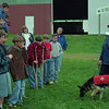 98/05/04 - K-9 Search *Dennis Stierer photo - Albion Middle School 6th graders listen to Steve Myers talk about training and rescue with the help of search dogs such as 'Jetta' , a 2yrs year old German Sheperd.