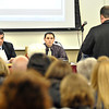 James Neiss/staff photographerSanborn, NY - Niagara-Wheatfield School District Superintendent Carl Militello, left, and Board President Steve Sabo, listen to a presentation at Wednesdays school board meeting.