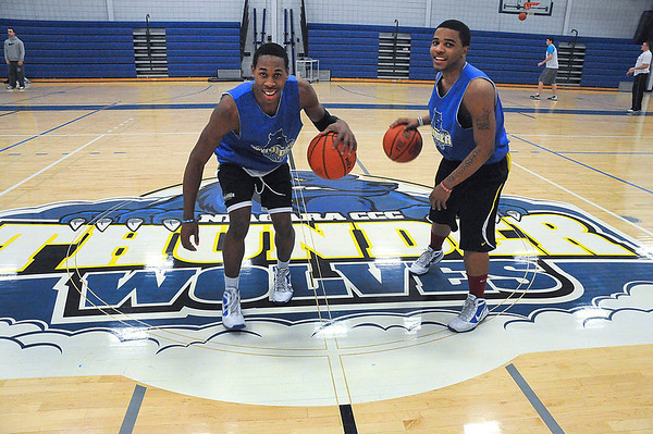 James Neiss/staff photographerSanborn, NY - Niagara County Community Collage basketball players Isaiah Johnson, left, and Lorenzo Joseph are the Zig and Zo show.