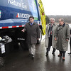 James Neiss/staff photographerLewiston, NY - Modern Corporation C.O.O. Gary Smith, shows off a compressed natural gas garbage truck to, from left, Francis J. Murray Jr., President and CEO of NYSERDA, Senator George Maziarz and Modern Corp. President Richard Washuta at their Model City Road facility. Modern Disposal Services of Model City and the New York State Energy Research and Development Authority celebrated the opening of a compressed natural gas fueling station today.