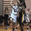James Neiss/staff photographerSanborn, NY - Niagara Wheatfield High School girls basketball player #21 Rachel Pawlak puts the ball up during game action against Williamsville North.