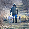 James Neiss/staff photographerLewiston, NY - Bill Krell of Lewiston takes advantage of a mild sunny February day to take his hunting dogs Aspen and Yukon for a walk at Joseph Davis State Park. Krell, said I enjoys taking the dogs for a walk and it keeps me and them in shape for next Pheasant and Duck season.