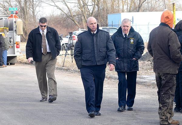 James Neiss/staff photographerNiagara Falls, NY - Niagara County Sheriff James Voutour, Niagara Falls Police Captain Frank Tedesco and Niagara Falls Police Superintendent John Chella join the investigation.