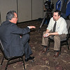 James Neiss/staff photographerNiagara Falls, NY - Former Niagara Falls Mayor Vince Anello met with Gazette Reporter Mark Scheer to talk about the city and his recent imprisonment, as TV reporters wait their turn.