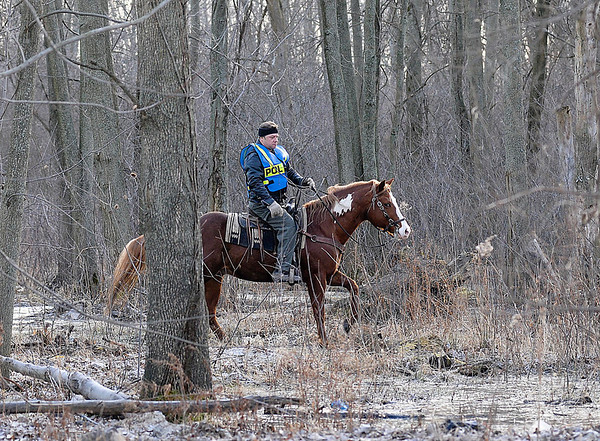 James Neiss/staff photographerNiagara Falls, NY - Niagara Falls Police Officer volunteered his time to search the woods east of 102nd Street for the missing Judith Burr.