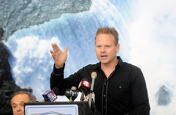James Neiss/staff photographerNiagara Falls, NY - Nick Wallenda, who has spent the bulk of his personal and professional life balancing on tightropes, told a crowd of reporters at Niagara Falls International Airport, that he's excited about walking between the U.S. and Canada now that Canadian officials green lighted the event.