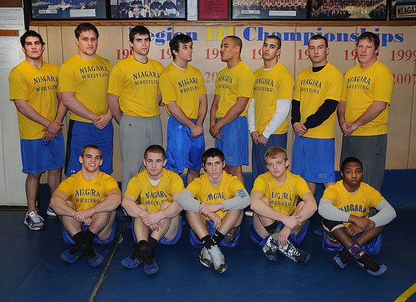 James Neiss/staff photographerSanborn, NY - Niagara County Community Wrestlers are headed to the NJCAA Nationals in Minnesota this weekend. In front, from left are, David Lyons, Irvin Buck, Caleb Green, Devin Kramer and Dwann Hall. In back from left are, Coach Jimmy Hamel, Lance Moore, Travis Taylor, John Brabon, Kris Schimek, Stephen Liebler, Joe McGrath and Coach Keith Maute.