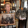 "James Neiss/staff photographerLockport, NY - Niagara County Historical Society volunteer Joan Barry shows off just a few of the items featured in and exhibit entitled ""It's A Good Hair Day,"" opening on Saturday Feb. 18, from 1-3 at the Historical Society featuring lots of ""long-haired entertainment all centered around the lives of the Seven Sutherland Sisters. The Seven Sutherland Sisters, a group of singing ladies from Lockport/ Niagara, N.Y., were famous for their long hair, which they showed off in a sideshow of Barnum & Bailey's from about 1882 to 1907."
