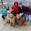 James Neiss/staff photographerWheatfield, NY - Orphaned dogs, from left, Zack, Sheeba and Chole, find a good home with the Cacciatore family, from left, Hailey, 5, her their mother Melissa, Nicholas, 13, Chris, 16, their father Frank, and Hannah, 9, after the tragic Hyde Park Lake accident. Frank, a Niagara Falls Firefighter with Truck 1, stationed at Fire House 4 on 10th Street, was one of the fire fighters that responded to the call at Hyde Park. Witnesses told police the dogs owner, Pascal Scrufari, 70, had been walking his three golden retriever dogs near the lake about 3 p.m. Wednesday when he ran out onto the lake after one of the dogs and fell through some thin ice.