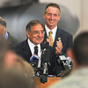 James Neiss/staff photographerNiagara Falls, NY - United States of America Secretary of Defense Leon E. Panetta is applauded by members of New York's congressional delegation and members of the 914th and 107th Airlift Wing's at the Niagara Falls Air Reserve Station.