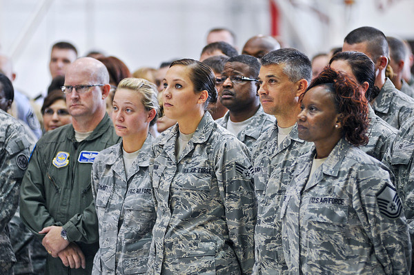 James Neiss/staff photographerNiagara Falls, NY - Members of  the 914th and 107th Airlift Wing's at the Niagara Falls Air Reserve Station listen to United States of America Secretary of Defense Leon E. Panetta during a visit on Thursday.
