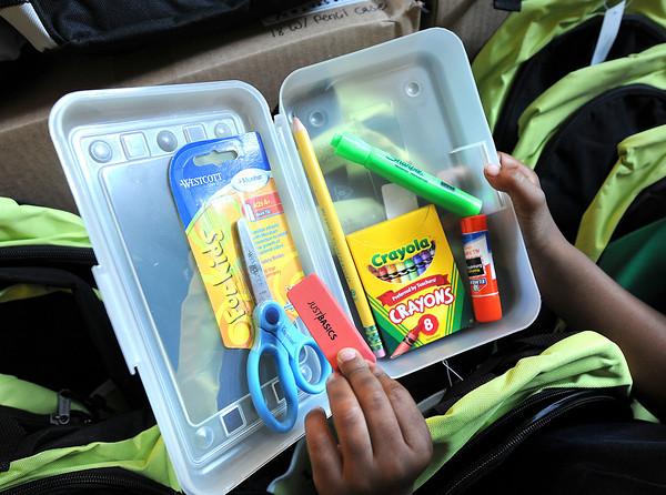 James Neiss/staff photographerNiagara Falls, NY - Univera Healthcare donated 150 backpacks filled with school supplies to the Niagara Street Elementary School as part of Univera's Start Smart program.
