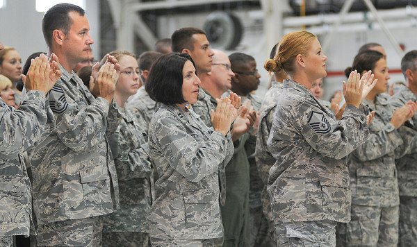 James Neiss/staff photographerNiagara Falls, NY - Members of  the 914th and 107th Airlift Wing's at the Niagara Falls Air Reserve Station applaud United States of America Secretary of Defense Leon E. Panetta during a visit on Thursday.