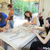 James Neiss/staff photographerLewiston, NY - Liz Schmucker, 15 of East Amherst, Abby Sullivan, 17 of Hamburg and Claire Hayden, 16, of East Amherst, work on pottery projects during Advanced Art Camp, part of the Camp Adventures program at Artpark.