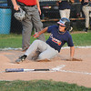 James Neiss/staff photographerNiagara Falls, NY - The MacLeod's Pharmacy Braves #23 Matt McCune slides into home after batting in three other runners in the 5th inning of the city championship baseball game against the Tops Tigers.