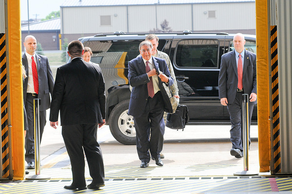 James Neiss/staff photographerNiagara Falls, NY - United States of America Secretary of Defense Leon E. Panetta made arrives at the Niagara Falls Air Reserve Station to meet with members of New York's congressional delegation and members of the 914th and 107th Airlift Wing's.