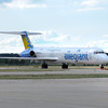 James Neiss/staff photographerNiagara Falls, NY - An Allegiant Airline jet is guided into the terminal after landing at Niagara Falls International Airport.