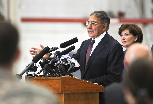 James Neiss/staff photographerNiagara Falls, NY - United States of America Secretary of Defense Leon E. Panetta made a stop at the Niagara Falls Air Reserve Station to meet with members of New York's congressional delegation and members of the 914th and 107th Airlift Wing's.