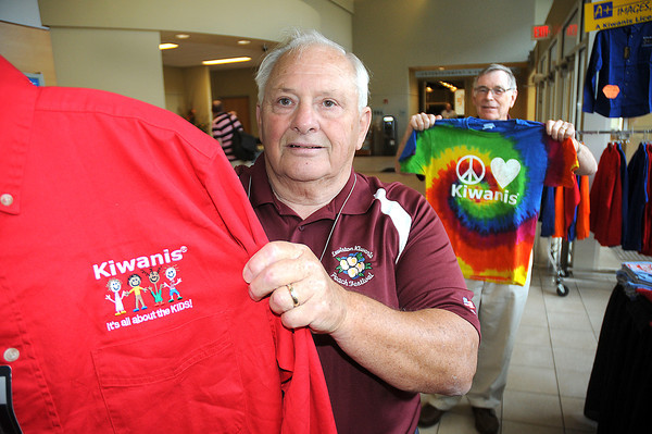 James Neiss/staff photographerNiagara Falls, NY - For the Children: Kiwanis members Ed Schieffelin, left, and Harry Buckholtz, with the Lewiston Niagara Frontier North chapter, show off some of the fun shirts for Kiwanis members at the New York District Kiwanis International 95th Annual District Convention is underway at the Conference Center Niagara Falls.