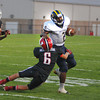 James Neiss/staff photographerLancaster, NY - Niagara Falls High School football player #2 Shaolin McCray shakes off a Lancaster defending in the first quarter of game action in Lancaster.