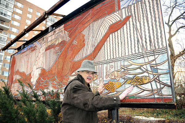 James Neiss/staff photographerNiagara Falls, NY - Retired UB Professor Dr. Peter K Gessner is trying to save a deteriorating concrete mosaic of the Maid of the Mist, using what's called the Sgraffito effect, by artist Joseph Slawinski who had a studio on Buffalo Avenue. Slawinski died in 1983.