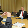 James Neiss/staff photographerNiagara Falls, NY - Reporter Don Glynn asks New York State Comptroller Thomas P. DiNapoli a question during an editorial board meeting at the Niagara Gazette.