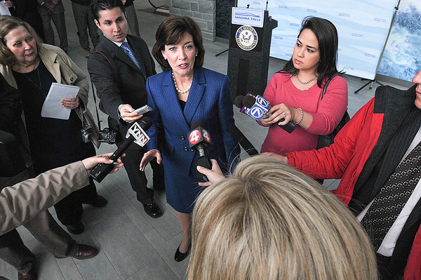 James Neiss/staff photographerWheatfield, NY - Congresswoman Kathy Hochul announced to media that $11.7 million in Federal Aviation Administration funding will be coming to Niagara Falls International Airport for the construction portion of the rehabilitation of the main runway.