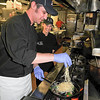 James Neiss/staff photographerLewiston, NY - Water Street Landing Chef Casey Lort cooks up dish of Mediterranean Mussel Pasta as Wine on Third Street Executive Chef Joanna Congi looks on. The two will be participating in Jazz & Pasta on Sunday April 29, a benefit for the Lewiston Jazz Festival.