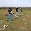 "James Neiss/staff photographerLewiston, NY - Driving ""Range"" of Motion: Golfing buddies, from left, Doug Williams, Tom Hanna, both of Niagara Falls, and Tony Dean of Wheatfield, show off a range of motion in their swings as they practice driving before their tee time at the Seneca Hickory Stick golf course."
