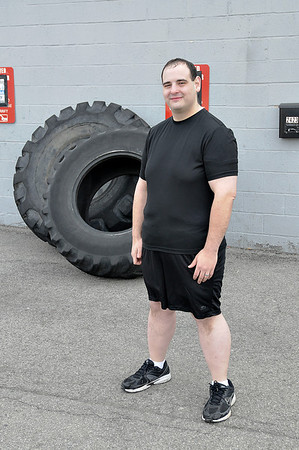 James Neiss/staff photographerNiagara Falls, NY -  No Spare Tires: Former Niagara Gazette City Editor Rick Forgione lost 100 pounds in one year with the help of personal trainer Christopher Tybor, owner of ChrisFit on Hyde Park Boulevard.