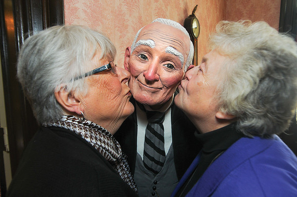 James Neiss/staff photographerNiagara Falls, NY - Tatler Club members are quite fond of their butler Walter including Margaret Rodgers, left, and Marge Gillies, right. Walter is the creation of member Susan Geissler.