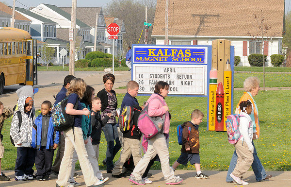 James Neiss/staff photographerNiagara Falls - Students at the Kalfas Magnet School have a new stop sign at the corner of Beech Avenue and 17th Street so they can safely cross the street.