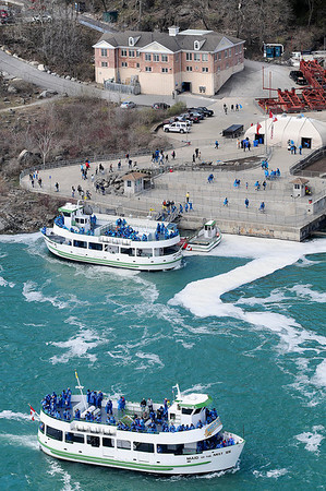James Neiss/staff photographerNiagara Falls NY - Passengers load onto a Maid of the Mist tour boat on the first day of operations this season on the Niagara Falls, Ontario, side of the Niagara Gorge. Chris Glynn, President of the Maid of the Mist Corp., announced that the continued operation of the boat tour company depends on the State of New York allowing them to build on the United States side of the Niagara Gorge.
