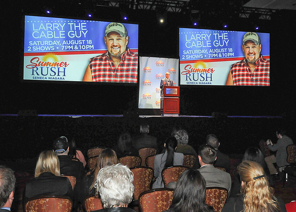 James Neiss/staff photographerNiagara Falls, NY - Emcee Jim Wise, senior vice president of marketing, Seneca Gaming Corp., announced that comedian Larry the Cable Guy will be part of the Summer Rush series of concerts at the Seneca Niagara Casino & Hotel, performing two shows on August 18.