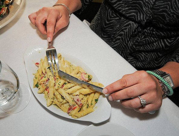 James Neiss/staff photographerLewiston, NY - Wine on Third Street Executive Chef Joanna Congi cooked up a dish of Pesto Pasta.