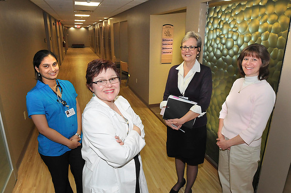 James Neiss/staff photographerLewiston, NY - Mount St. Mary's Hospital Center for Women has completed the first phase of remodeling on the 2nd floor where maternity services are provided. Here in the new section are, from left, Dr. Sharmilee Thota, Dr. Andrea Rosati, Director of Women's Services Margaret Brady and Dr. Judy Wesolowski.