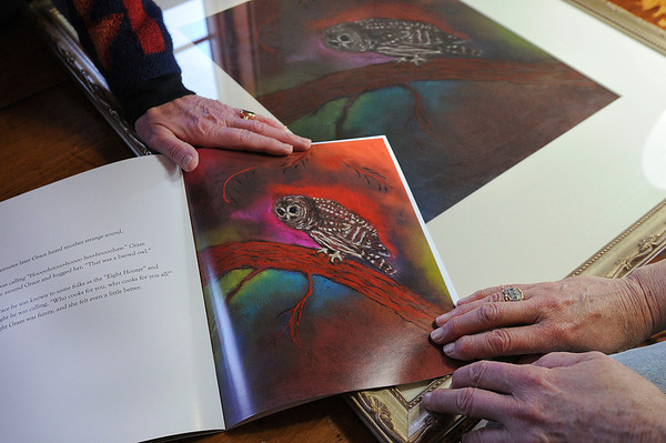 """James Neiss/staff photographerTown of Niagara, NY -  Sisters Marna Whitworth of Lewiston, left, and Joan Johnson of the Town of Niagara, collaborated on the children's book """"A Night In The Woods."""" Whitworth wrote the book and Johnson illustrated it with her art."""
