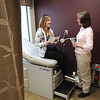 James Neiss/staff photographerLewiston, NY - Doctor Judy Wesolowski chats with expectant mother Danielle VanDyke of Niagara Falls in one of the new examination rooms at the Mount St. Mary's Hospital Center for Women. The hospital has completed the first phase of remodeling on the 2nd floor where maternity services are provided.