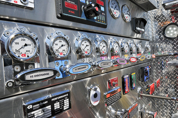 James Neiss/staff photographerNiagara Falls, NY - The high tech control panel shines bright on the new 2011 Rosenbauer pumper truck that the Niagara Falls Fire Department took delivery of on Wednesday.