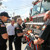 James Neiss/staff photographerNiagara Falls NY - New Niagara Falls Fire Chief Tom Colangelo visits with Truck 1 crew, his former station mates at the 10th Street fire hall. From left are, Firefighter Chris Ambrosia, Chief Tom Colangelo, Firefighter Paul Pearson, Captain Mark Fontanella and Firefighter Mike Naccarato.