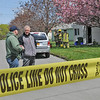 James Neiss/staff photographerNiagara Falls, NY -  Niagara Falls Police Superintendent John Chella, right, speaks with Lt. Bryan DalPorto at the cordoned off scene of a suspected meth lab on A Street.